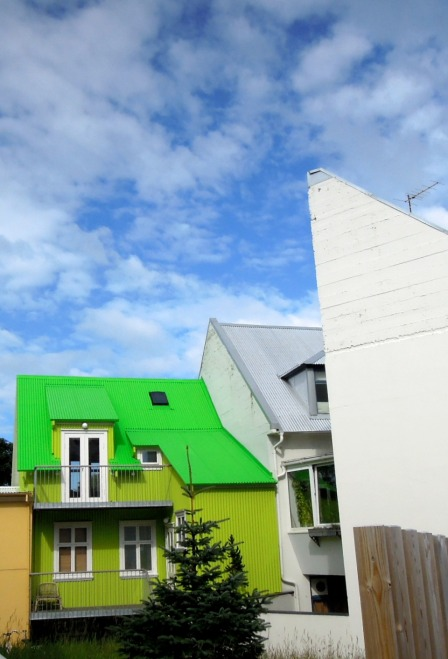 House in two bright shades of neon green