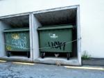 Cow-cat hiding under a Dumpster