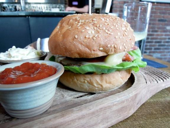 Kohl Burger at Bar Kohl, Edinburgh. Back bacon and Monterey Jack and BBQ sauce.