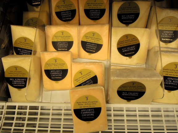 Store-brand cheese selection at Waitrose, organized by number according to flavor strength.