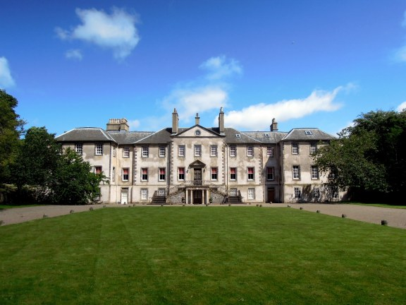 Newhailes house in the sunshine, with rectangle of lawn in front