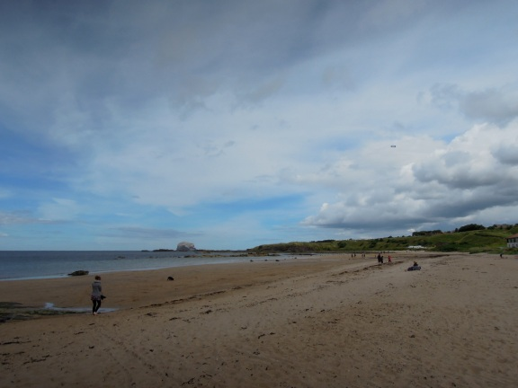 North Berwick beach with people on it