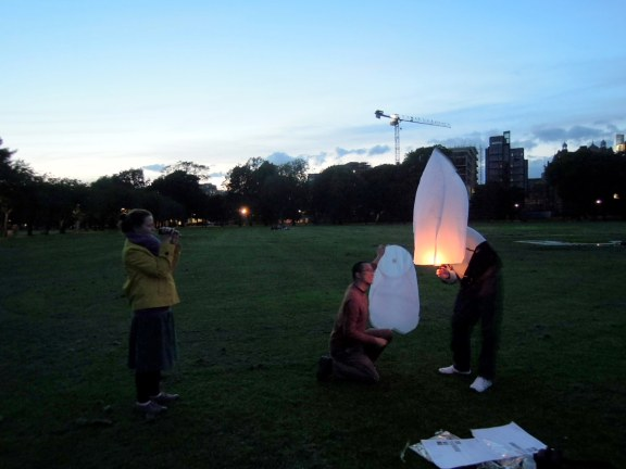 Lighting flying lanterns in The Meadows with new friends Aga and Scott, two nights before we left Edinburgh.