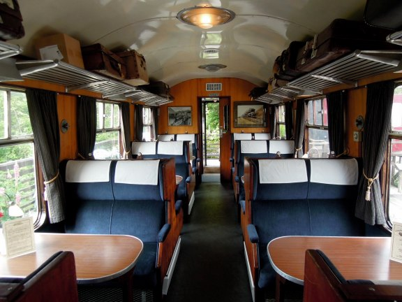 Inside the Glenfinnan Dining Car, facing the entrance