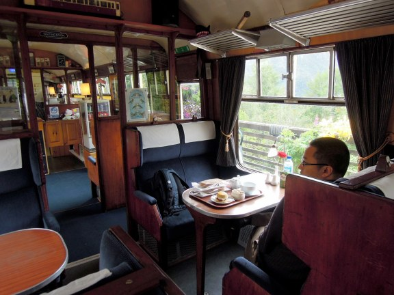Erik and the tea tray inside the Glenfinnan Dining Car