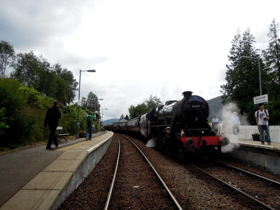 The black locomotive of the Jacobite Steam Train, in Glenfinnan Station