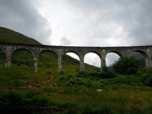 Glenfinnan Viaduct with the hills silhouetted behind