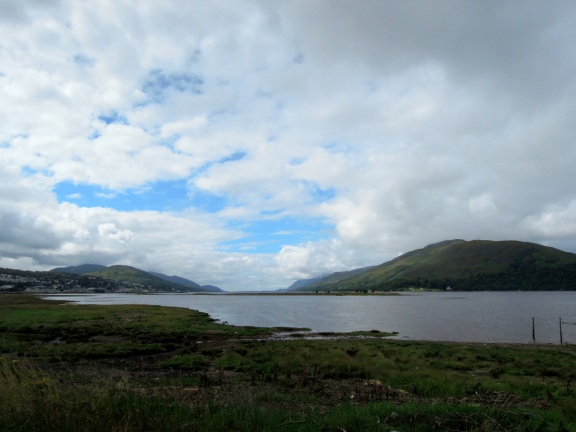 Caol waterfront, with hills in the distance