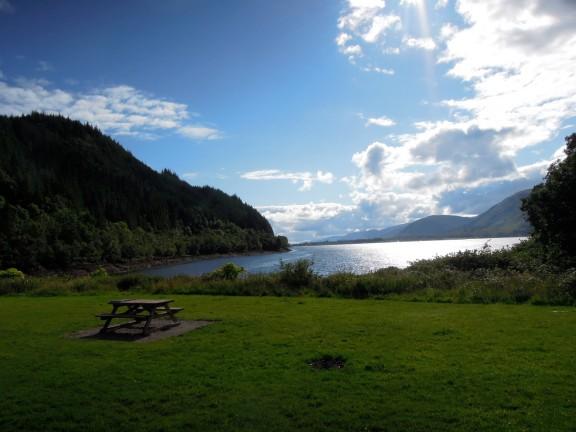 Picnic table on Loch Linnhe