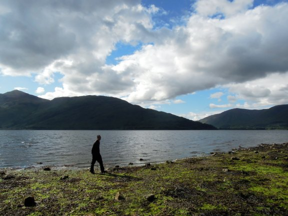 "Erik walking Loch Linnhe and looking like the Chinese character for ""person"""