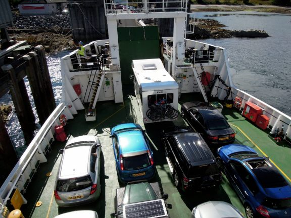 Cars on the lower deck of the ferry