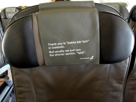 Mini language lesson printed on the airplane headrest