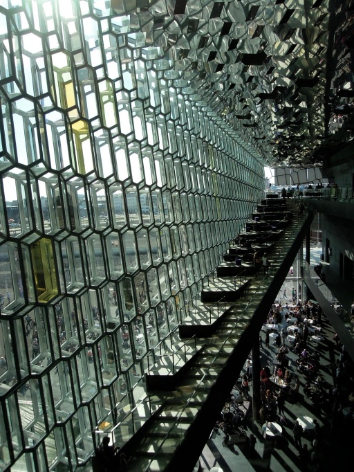 Inside wall of Harpa concert hall