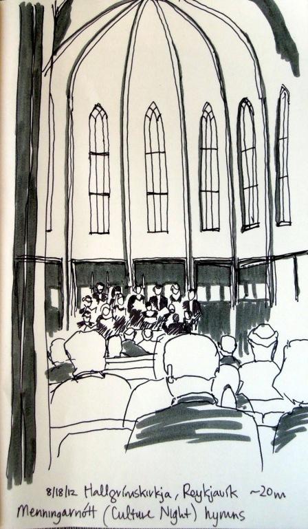 Sketch of choir performing inside Hallgrímskirkja