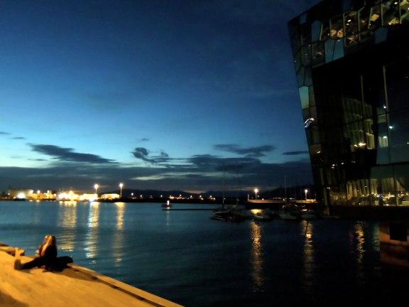 Outside Harpa at night