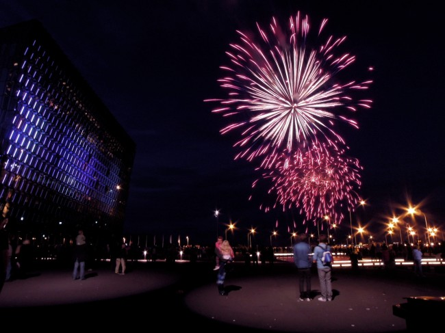 Fireworks outside Harpa concert hall