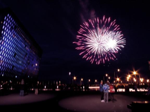 Fireworks outside Harpa concert hall