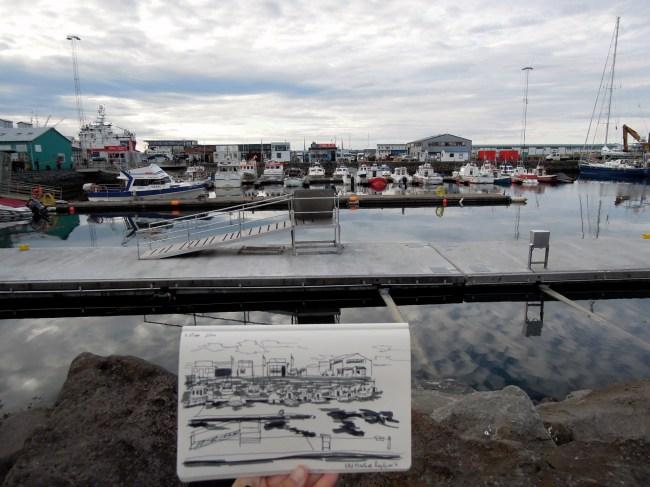 Old Harbor sketch, on-site