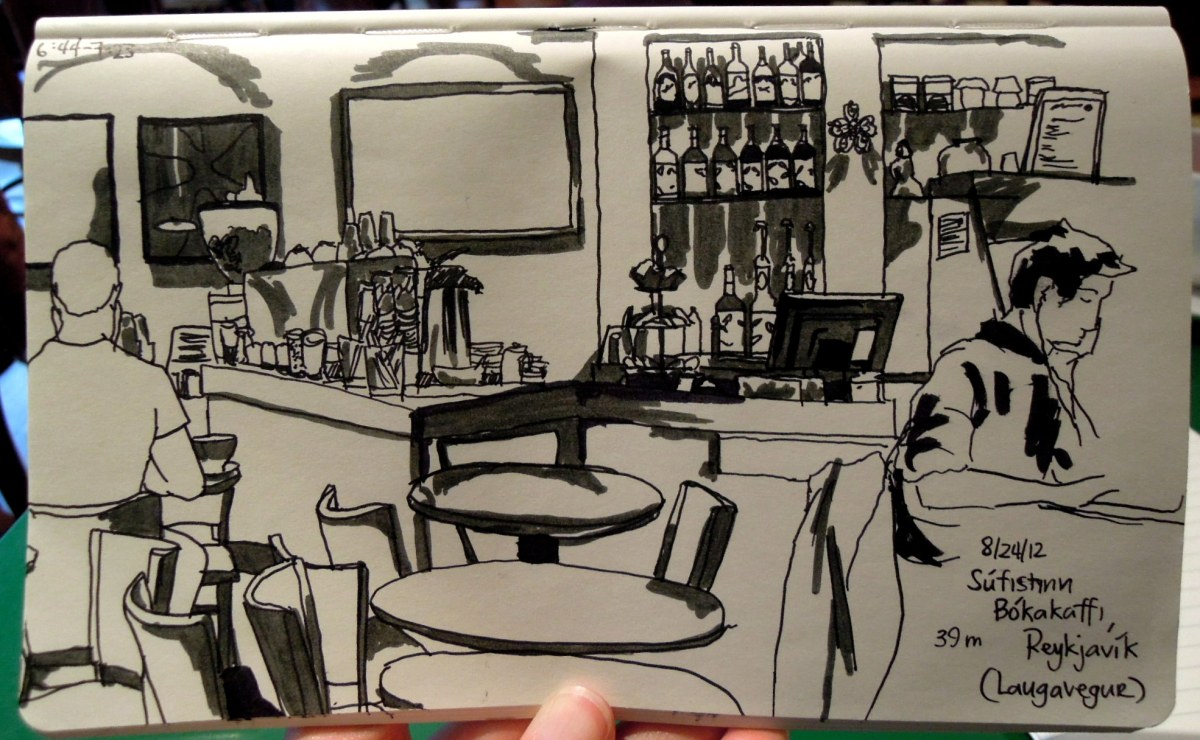 Sketch of the inside of a cafe above a bookstore