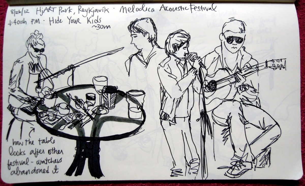 First of three sketches made at an outdoor concert