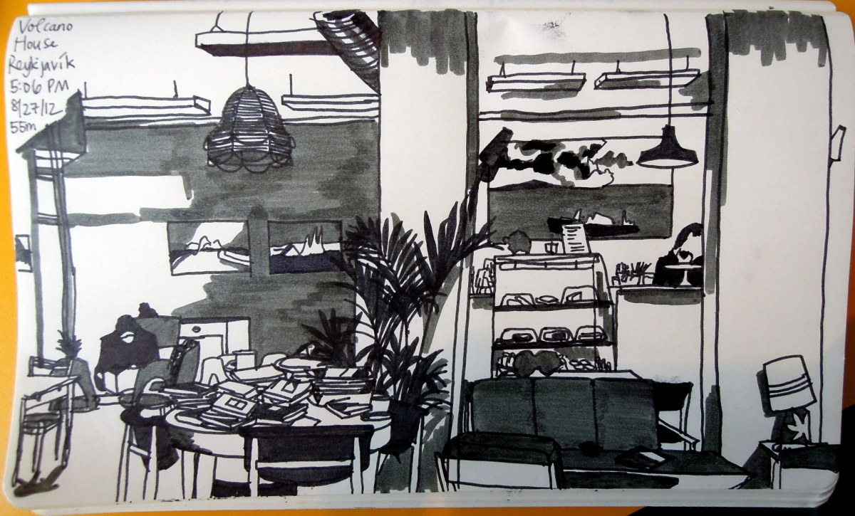 Sketch of the interior of Volcano House cafe