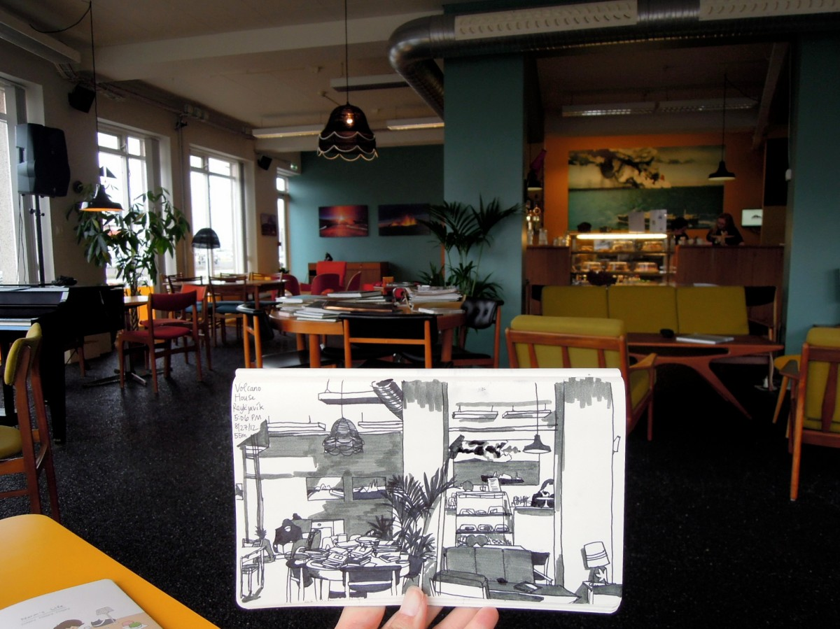 Sketch at Volcano House cafe