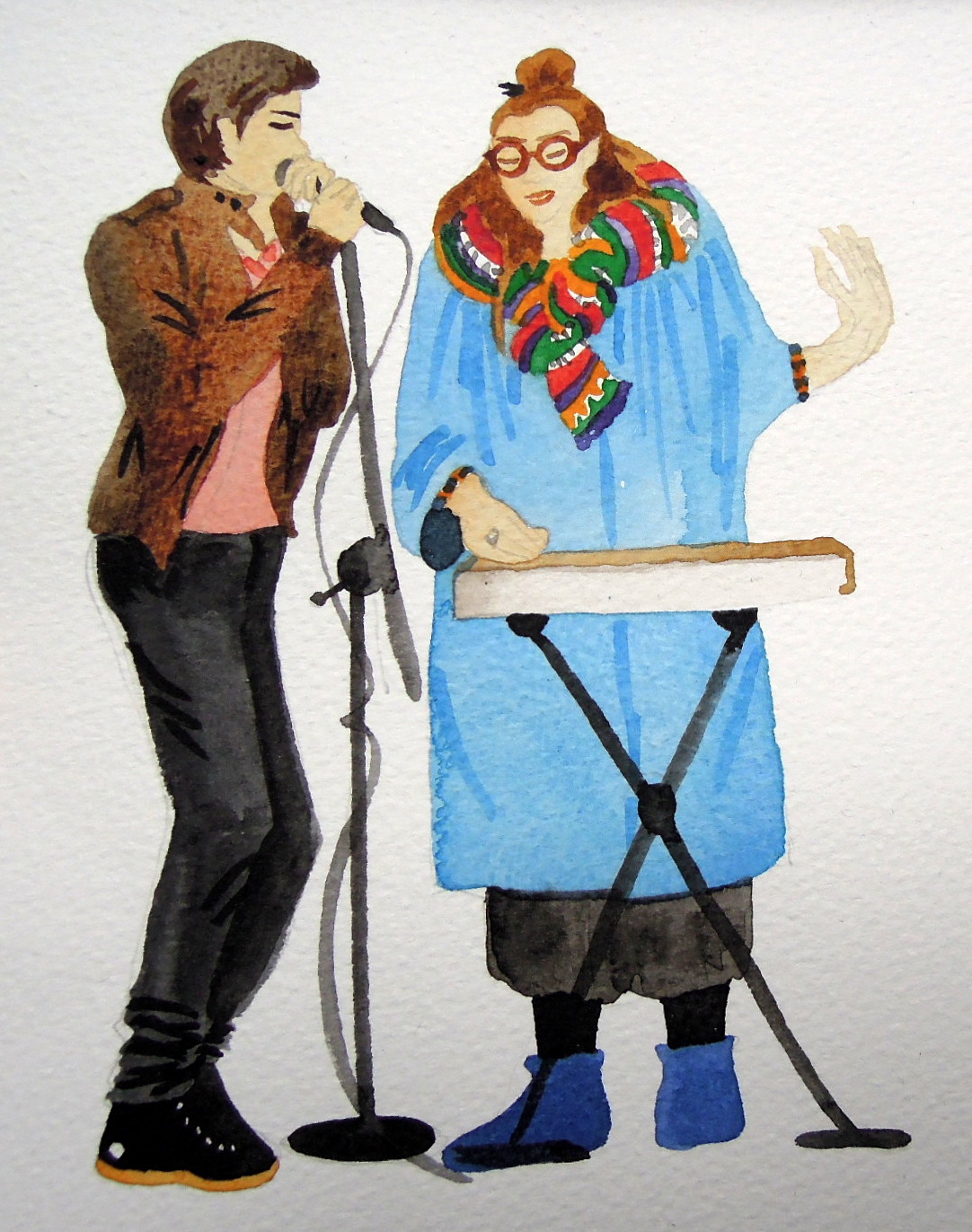 Two musicians rendered in watercolor