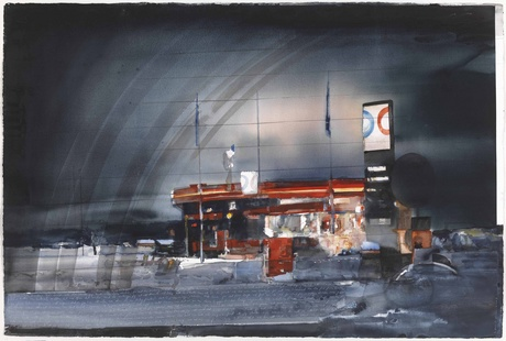 Painting of what looks like a gas station at night