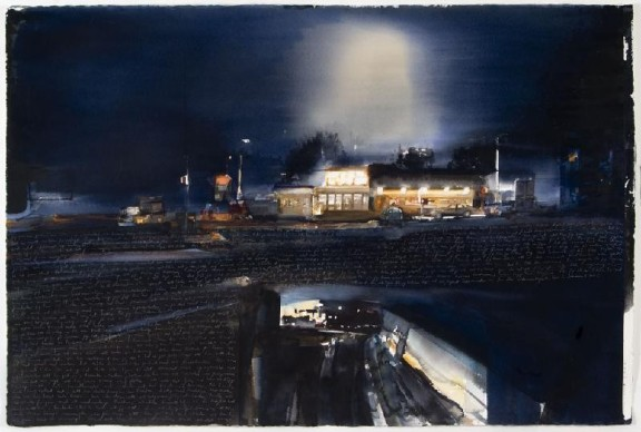 Lars Lerin painting, not sure of title. Night view of houses with pale handwriting across the bottom.