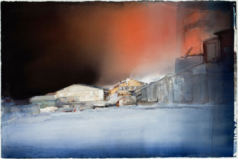 "Lars Lerin, ""Night."" Watercolor of buildings on a snowy street with a red and black sky."
