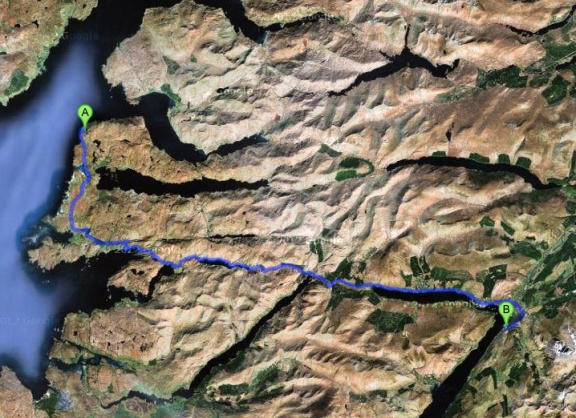 Google Satellite map showing the route from Mallaig to Fort William