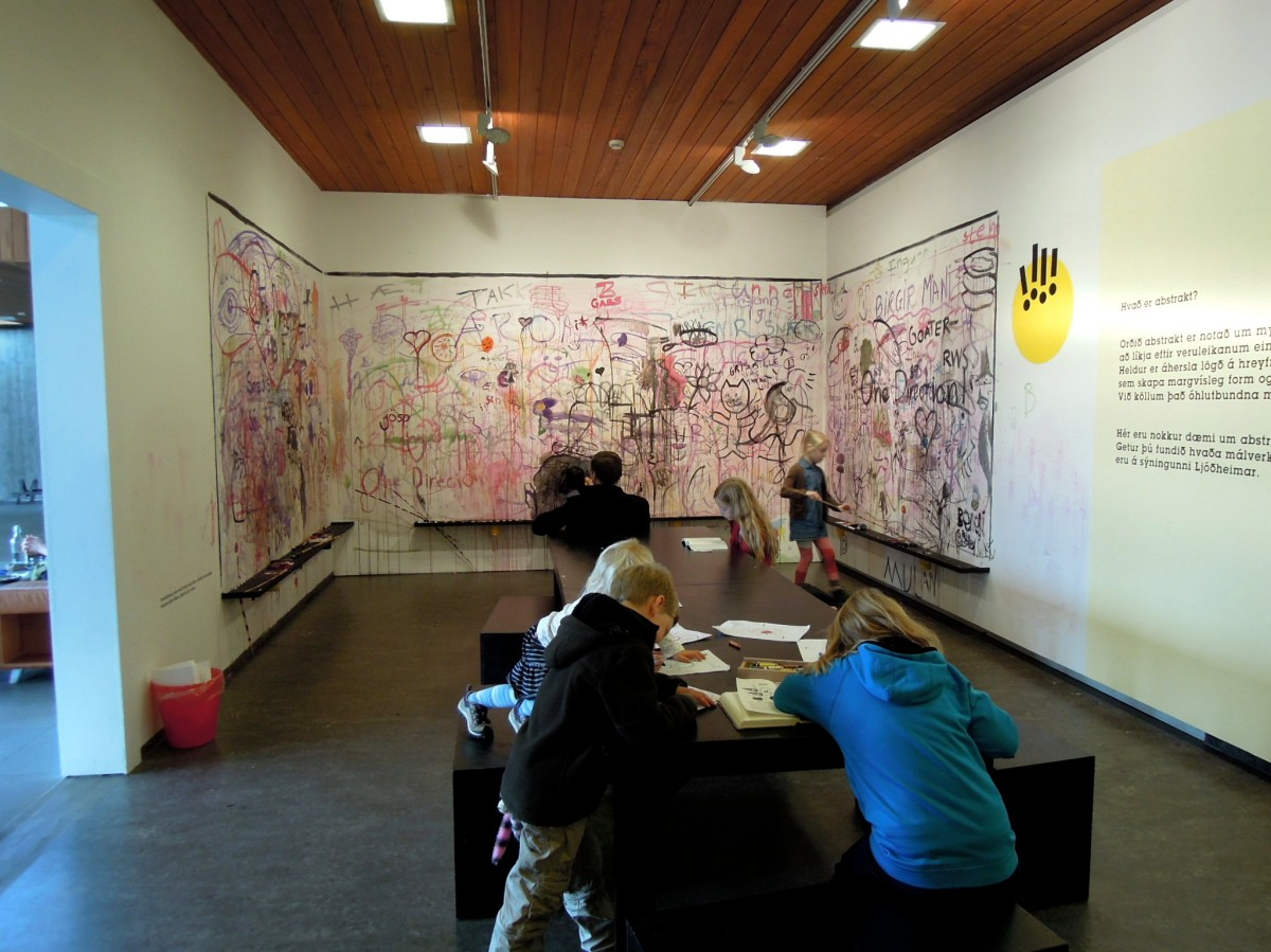 Kids' painting room at the Kjarval building of the art museum