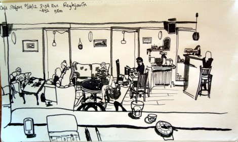 Sketch of the inside of Stofan cafe