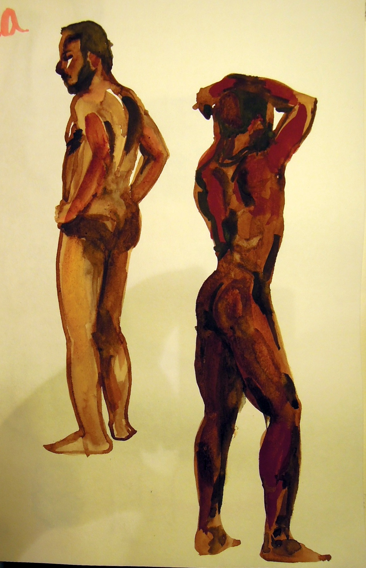 Two watercolors of a standing male model