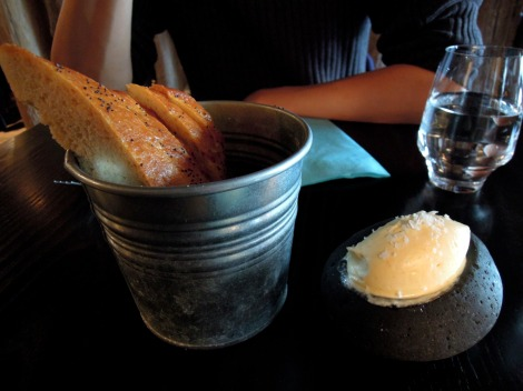 Delicious bread and butter at Sjávargrillið restaurant.