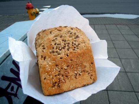 A loaf of mueslibrauð in paper bag