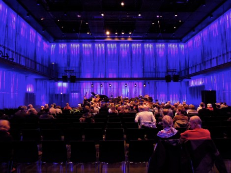 Stage for final UNM concert, inside a recital hall at Harpa concert hall.