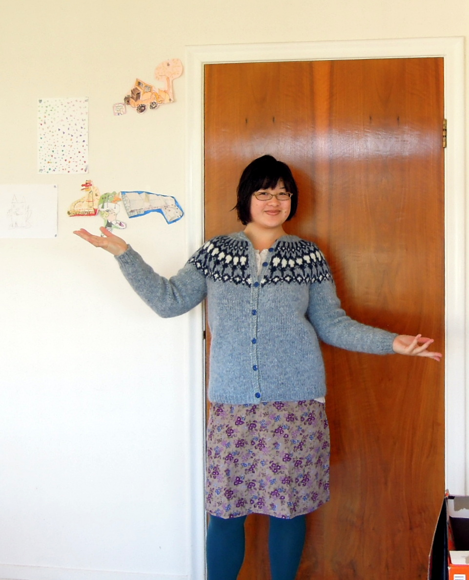 Inside the 107 apartment, wearing my new lopapeysa (Icelandic wool sweater)
