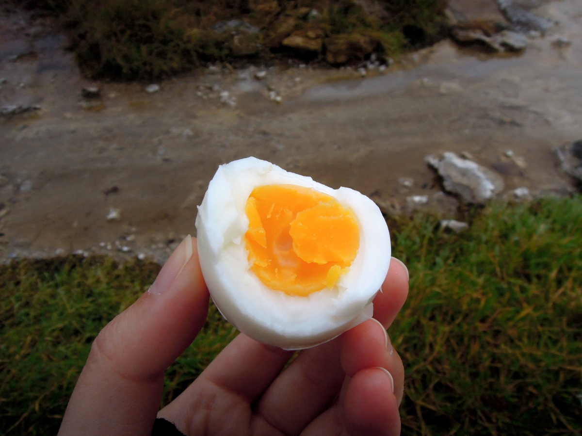 Bitten hard-boiled egg