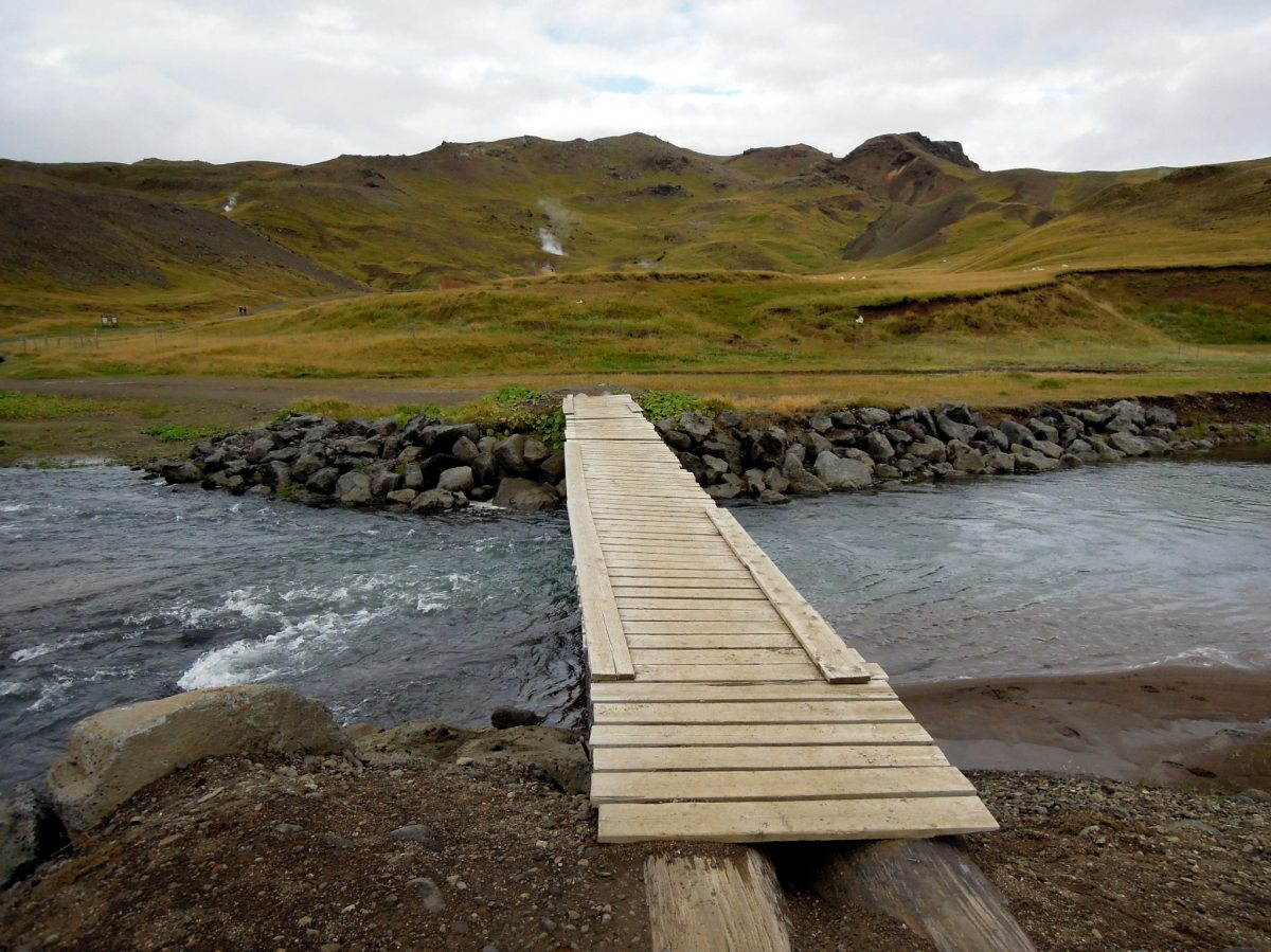 Wood-plank bridge