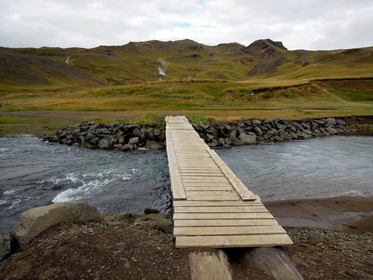 Wood-plank bridge