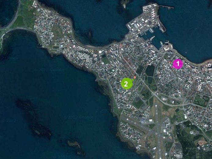 Satellite map of Reykjavík showing the locations of our two apartments