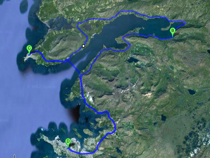 Google Satellite view of the route we took