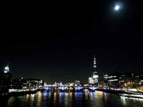 View from Millennium Bridge at night
