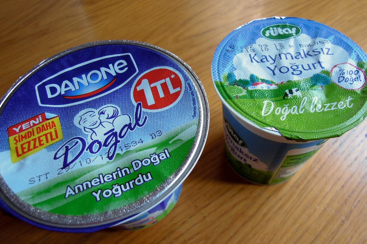 Two small containers of yogurt