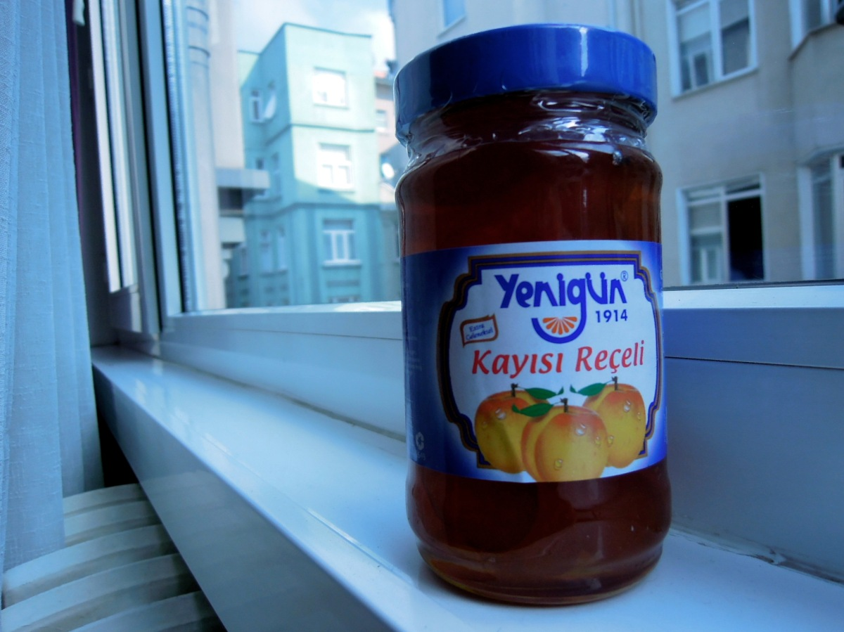 Apricot jam with label in Turkish