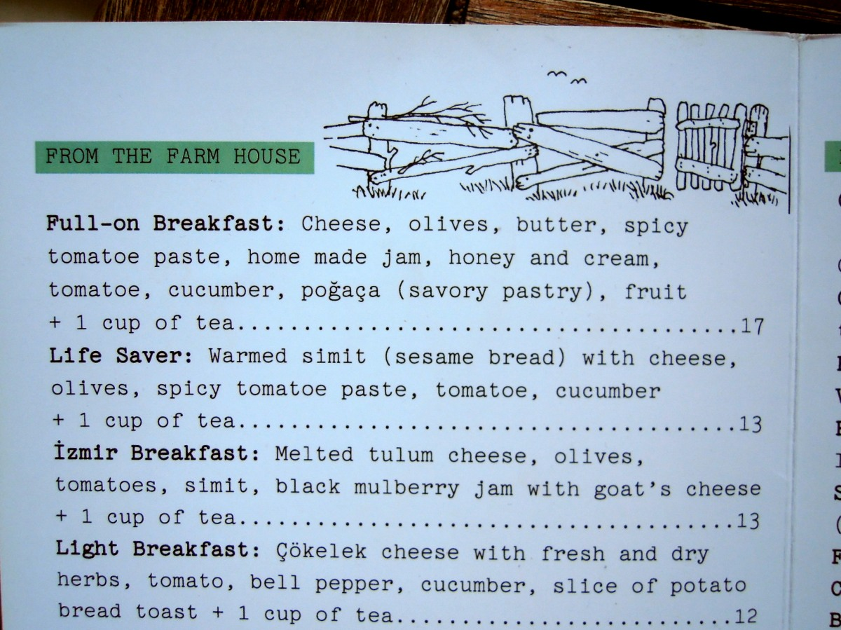 Part of the breakfast menu at Kahve 6
