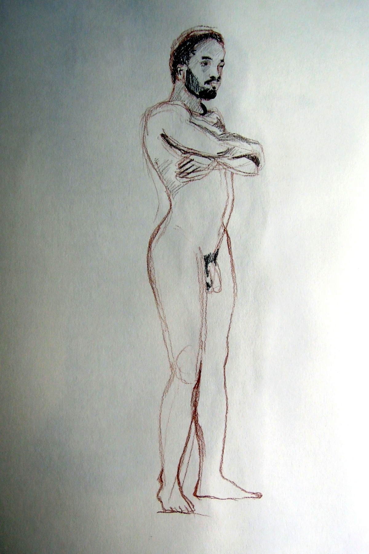 Pencil sketch of nude man standing