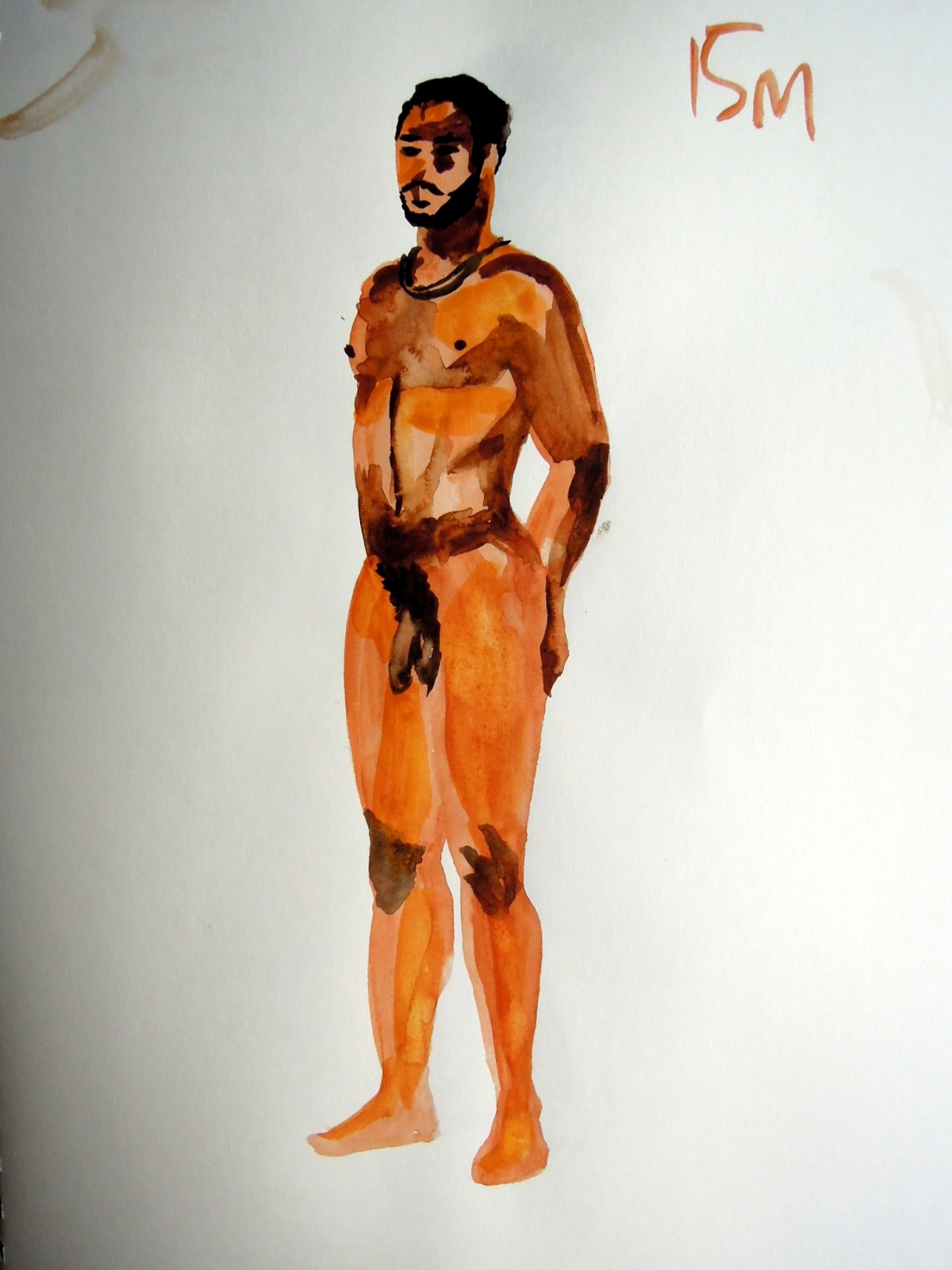 Watercolor sketch of nude man standing