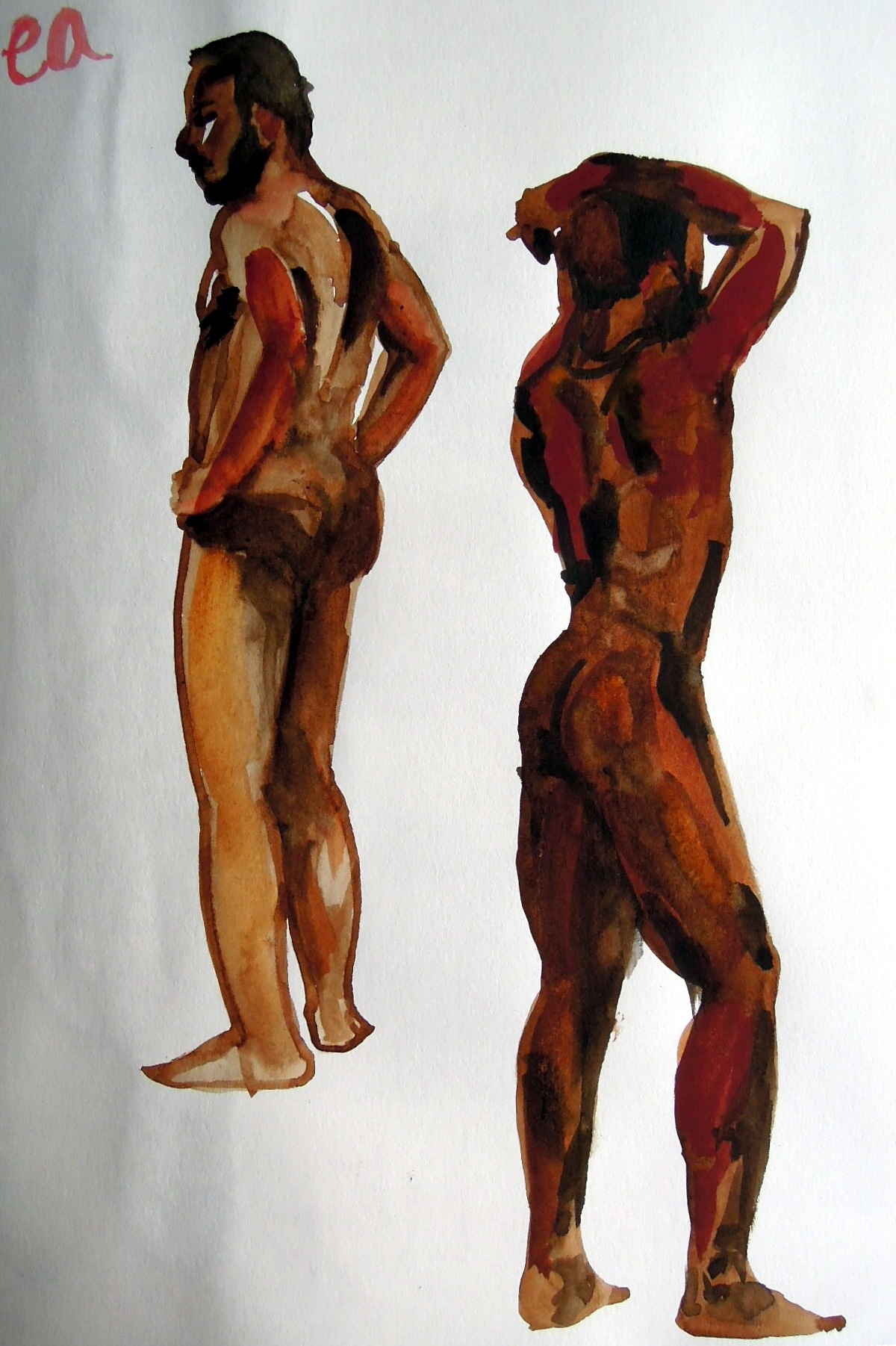 Two watercolor sketches of nude man standing and turned away from artist